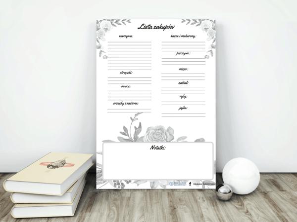 Lista zakupów szara do wydruku Edukator Cukrzycowy Dietetyk Noemi mockup